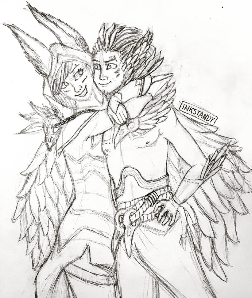 Xayah and Rakan Fan Art by Inkstandy
