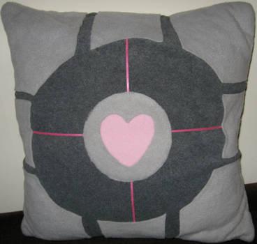 Companion Cube cushion cover by death-au