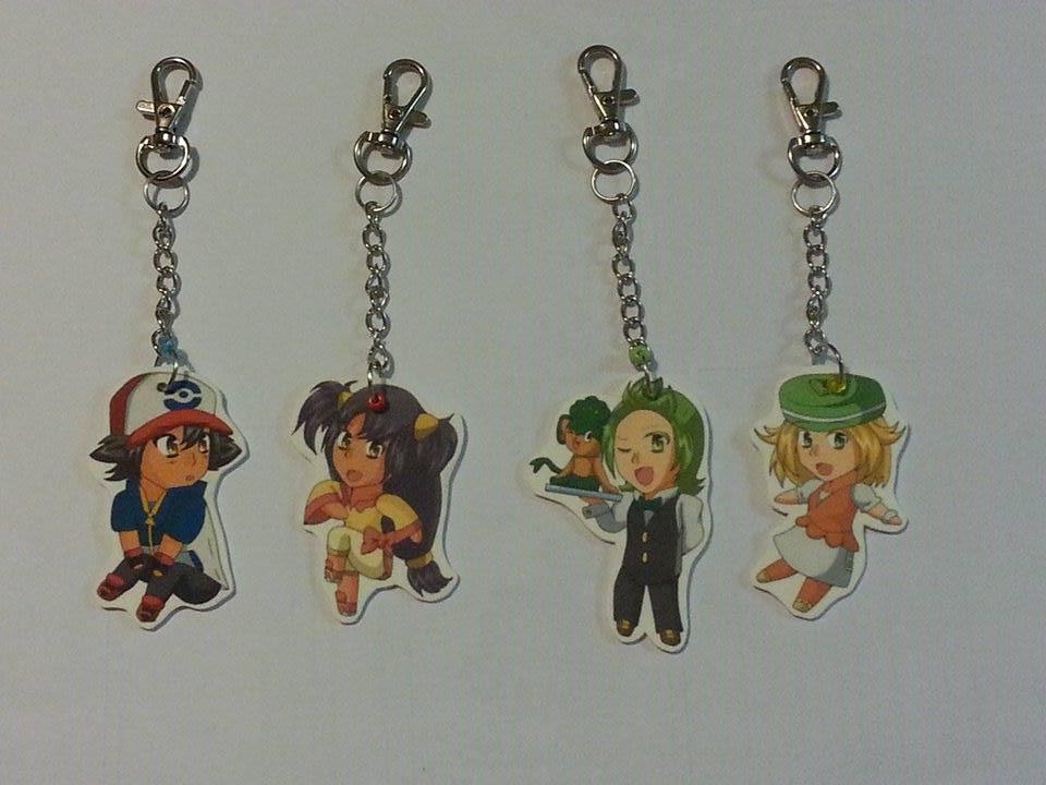 BW Pokeani Keychains by Little-MissMidnight