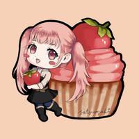 Hilda Chibi with Strawberry Cupcake by satsumaki