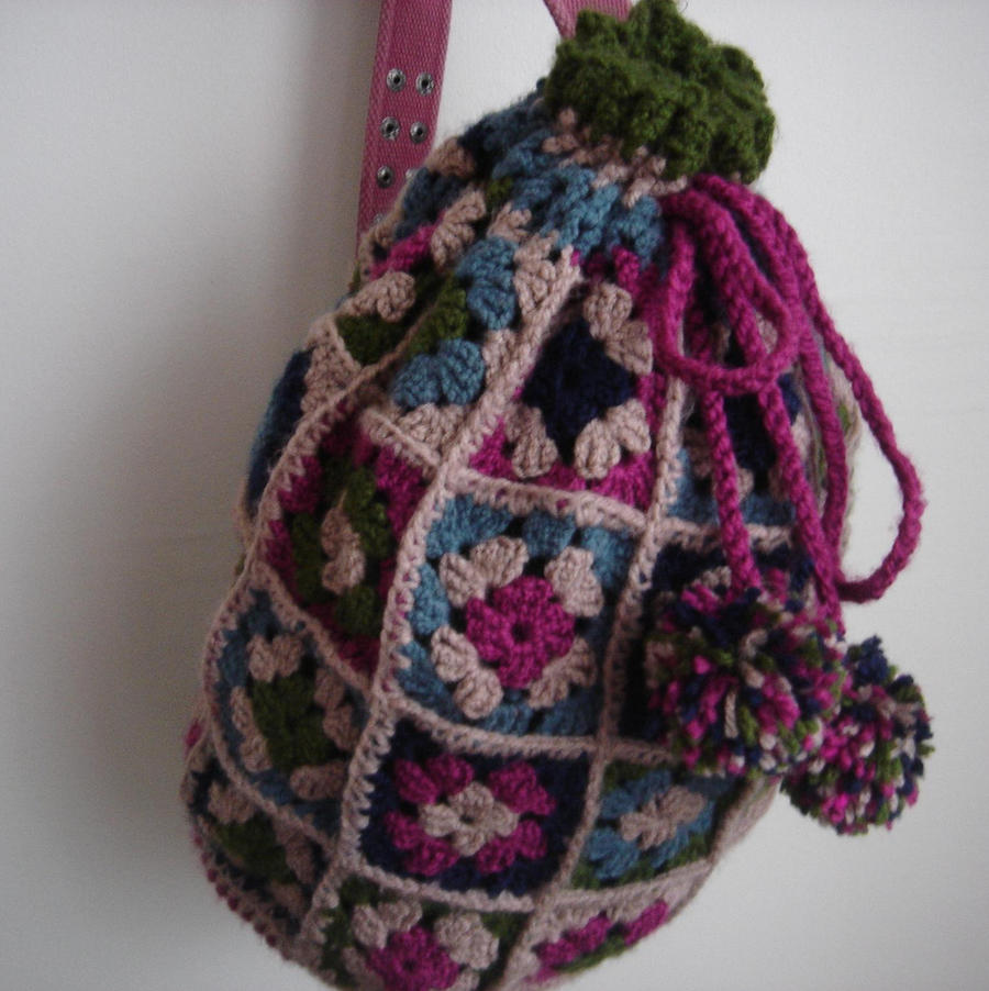 saddlebag backpack pompom sweet handmade bag by daisycolors