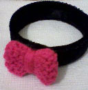 pink knit bow black welvet bracelet by daisycolors