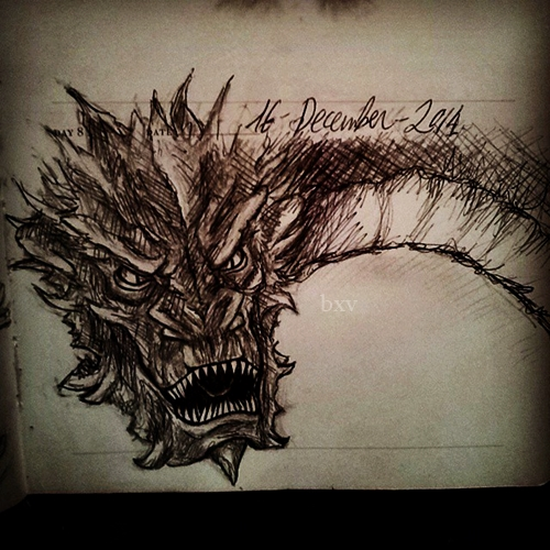''I am fire, I am death, I am a doodle'' Smaug by Greendogbex