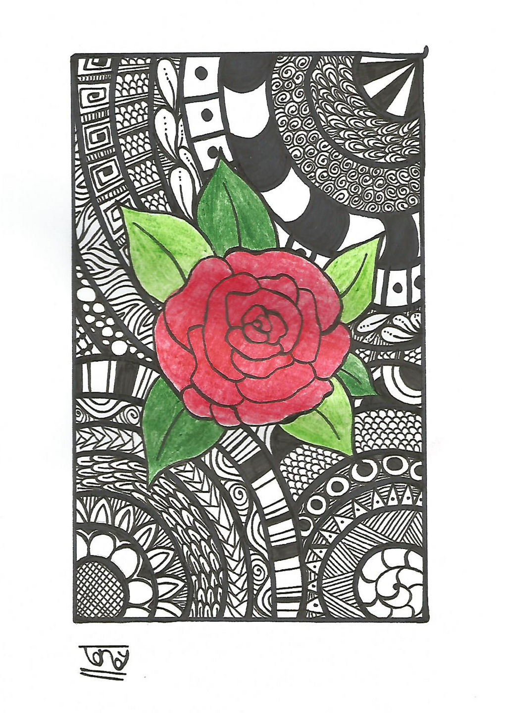 Rose Zentangle By Smileyface001 On Deviantart