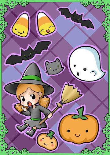 Halloween Witch Sticker Sheet by Jellyfish-Station