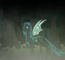 Chrysalis alone in the Everfree Forest by MelSpyRose