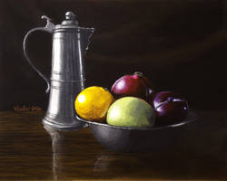 Coffee Pot and Fruits
