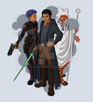 Sabine, Ahsoka, and Ezra by JRNobleArt