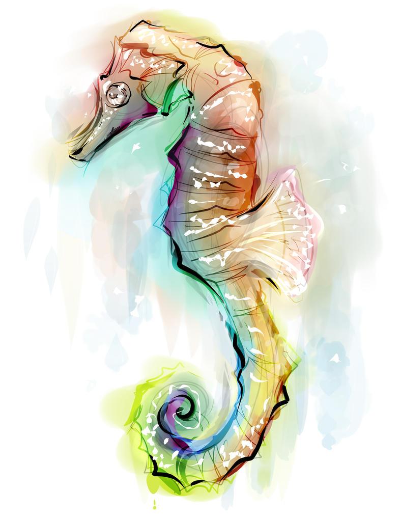 Seahorse - faux watercolor by Jutchy