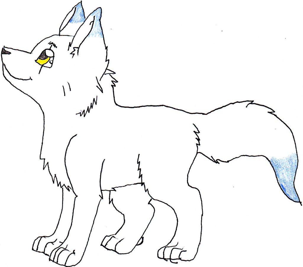 Cute cartoon wolf pup