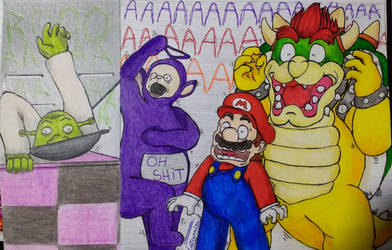 Draw scene: Cooking with Bowser  Mario 2