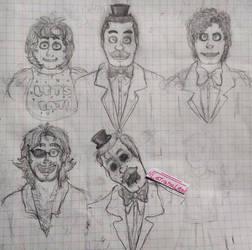 Sketch FNAF 1 humans (My version)