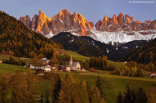 Alpine village in autumn