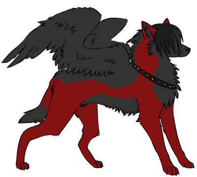 red and black goth wolf by akako-ryuu on DeviantArt
