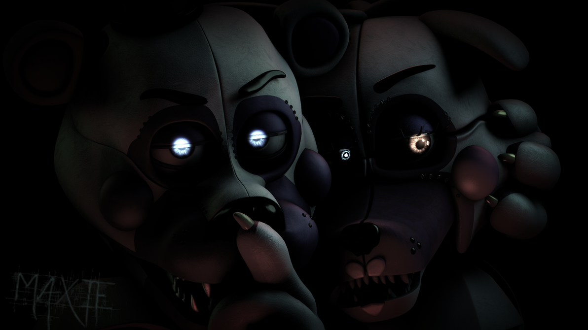 Sfm funtime foxy and funtime freddy render by maxieofficial on