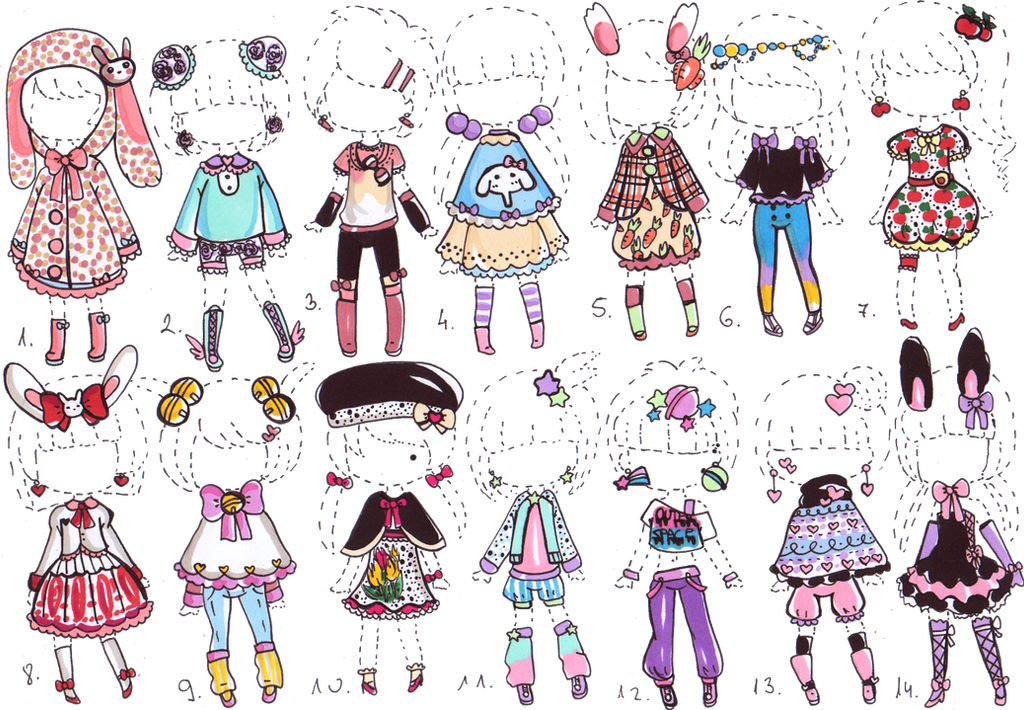 -CLOSED- Cute outfit ADOPTS by Guppie-Vibes on DeviantArt