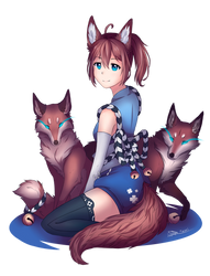 Girl with foxes