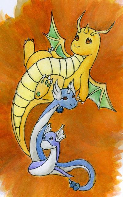 PC: Dratini + Dragonair + Dragonite by Shikall