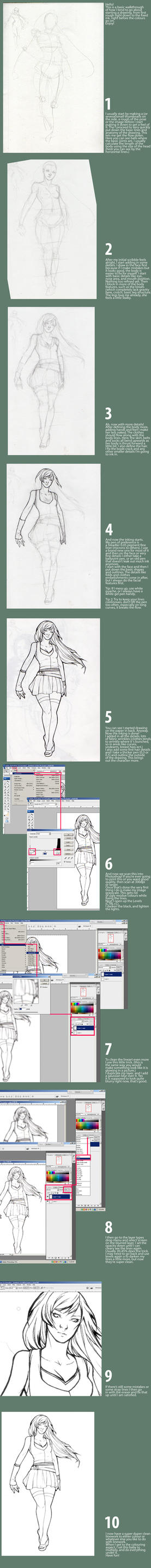 Sketch and Ink tutorial by psycho-kitty