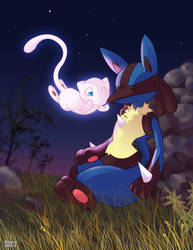 Mew and Lucario by jiggly