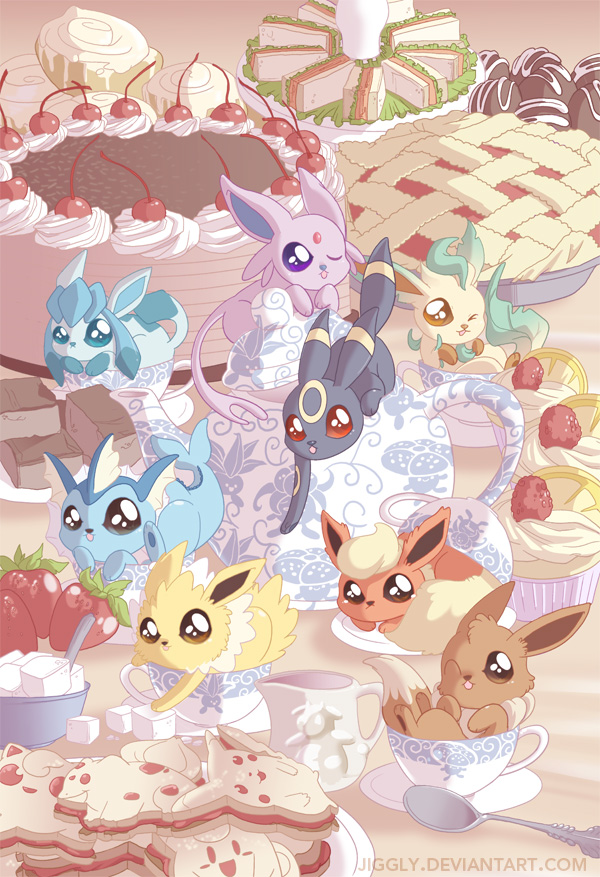 Eeveelution Tea Party by jiggly