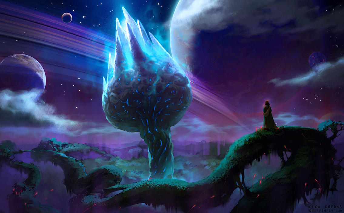 Wormworld Root at night by Griffinfly