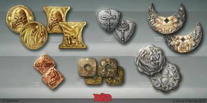 Waterdeep DragonHeist coin concepts by OlgaDrebas