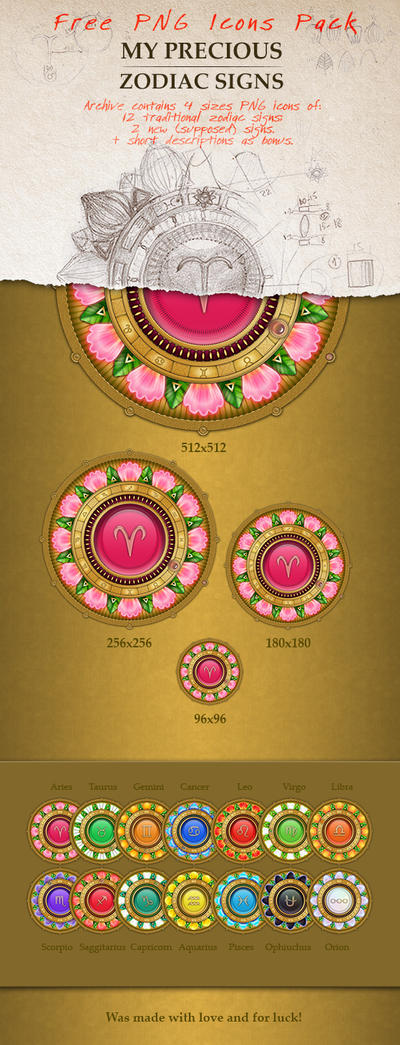 My Precious Zodiac Signs - Free Icons Pack by Bubuechi-Qween