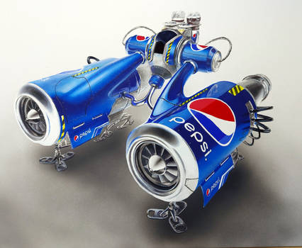 Aircraft Drawing made of Pepsi cans