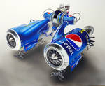 Aircraft Drawing made of Pepsi cans