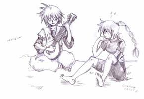 Chrono cross serge and kid by DreamerYamaneko