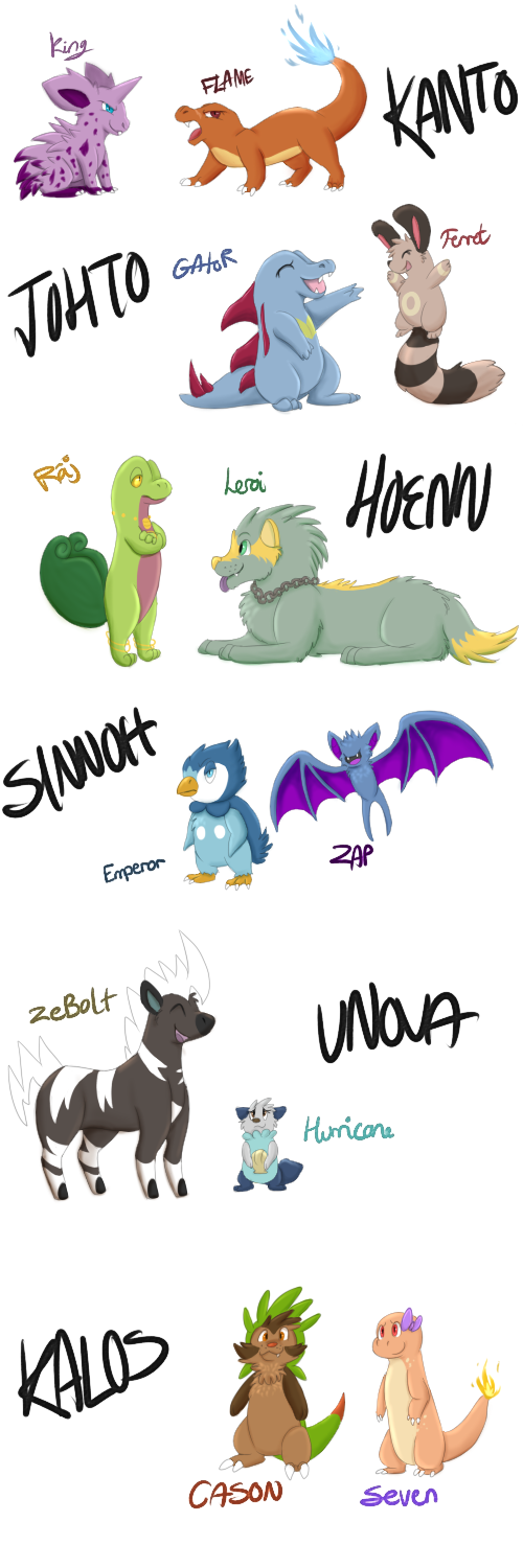 Starters and their partners by Rocket14