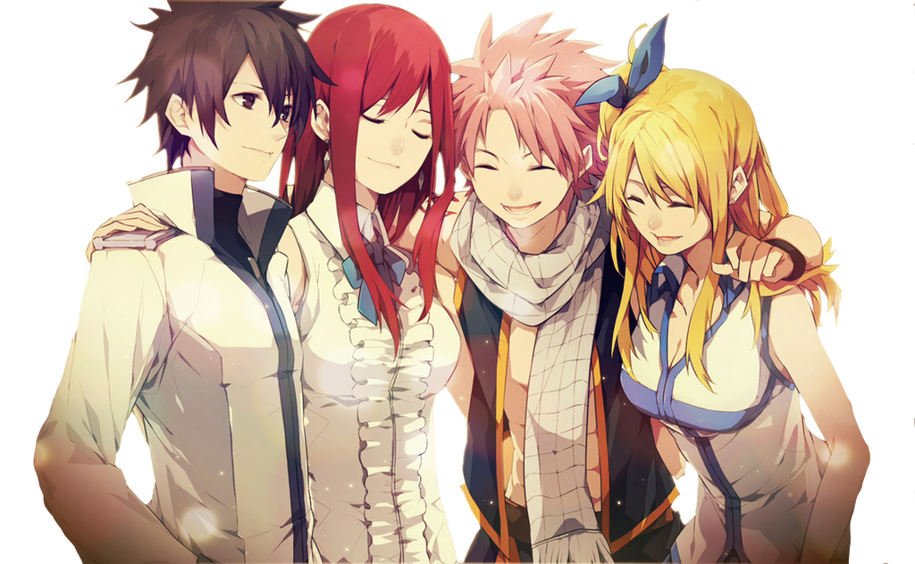 Fairy Tail Natsu/Grey/Erza/Lucy render by Revancow on ...