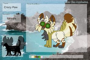Crazy Paw (Cove Clan Application) by RandomPhantom578