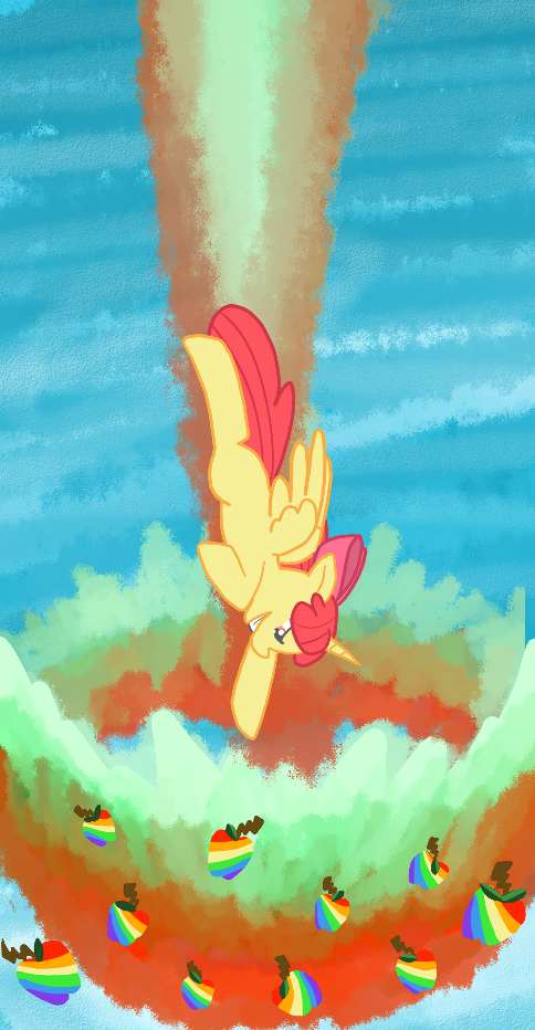 An alicorn Apple Bloom flying while zap apples and apple-colored explosions shoot out of her