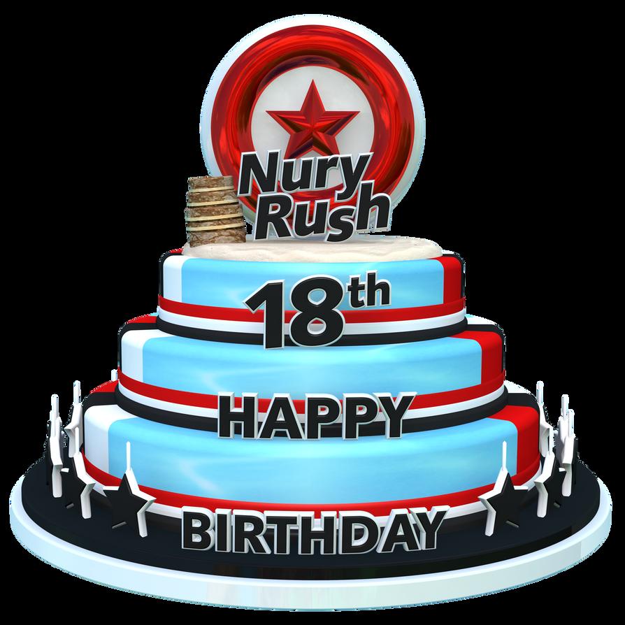 NuryRush's Birthday 18th Cake Render by NuryRush