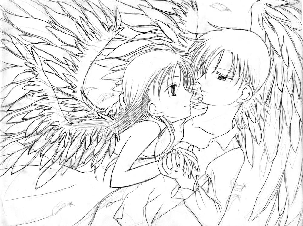 couple anime coloring pages - photo#25