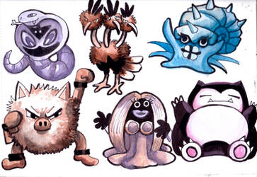 My Nuzlocke Team- Watercolors by Tefian