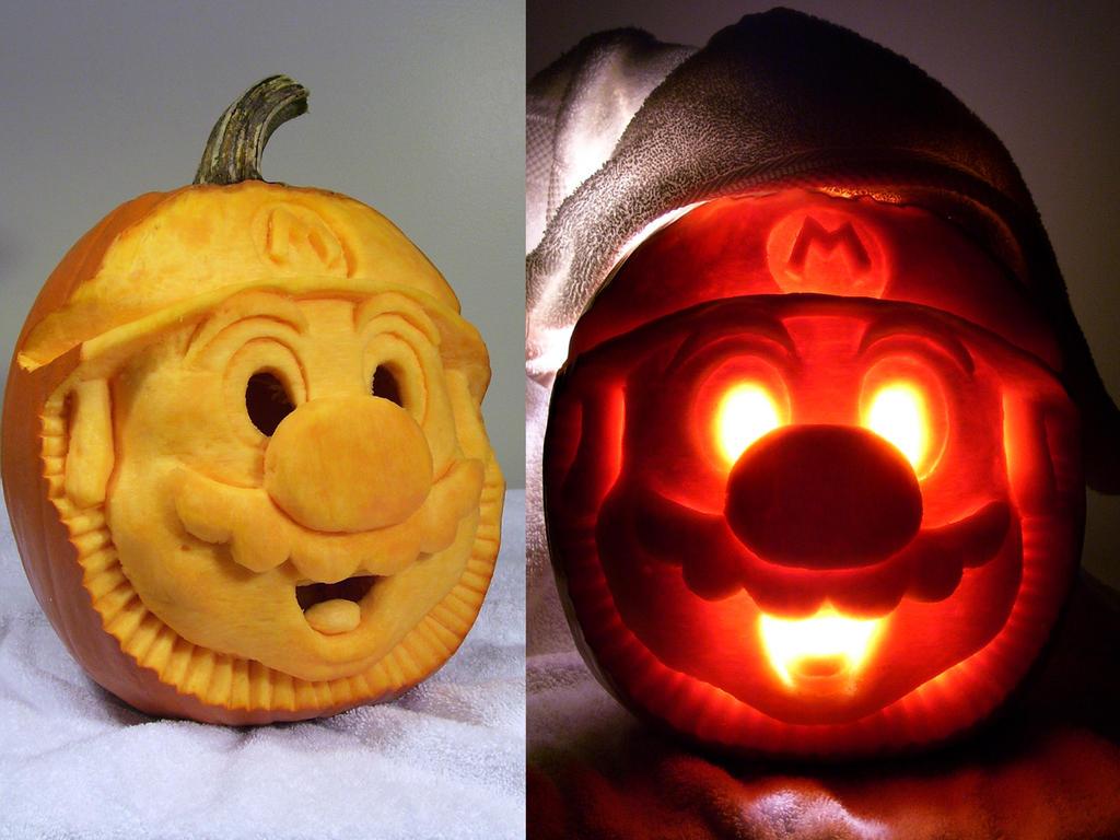 Mario Pumpkin Carving Punkbouncer On Deviantart Jpg 1024x768 Bros