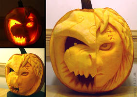 2006 - Gaara and Shukaku Pumpkin by PunkBouncer