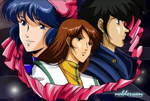 Minmay, Misa and Hikaru by Neldorwen