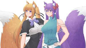 Commission : Cute Fox Girls by Ryusyai