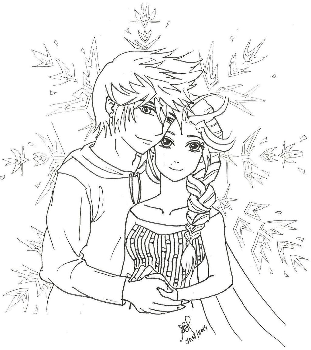 Jelsa Kissing Coloring Pages