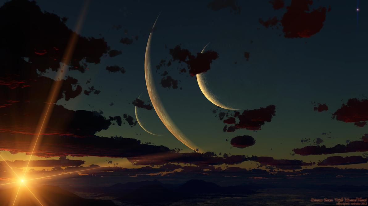 Crimson Dawn: Triple Mooned Planet by nethskie