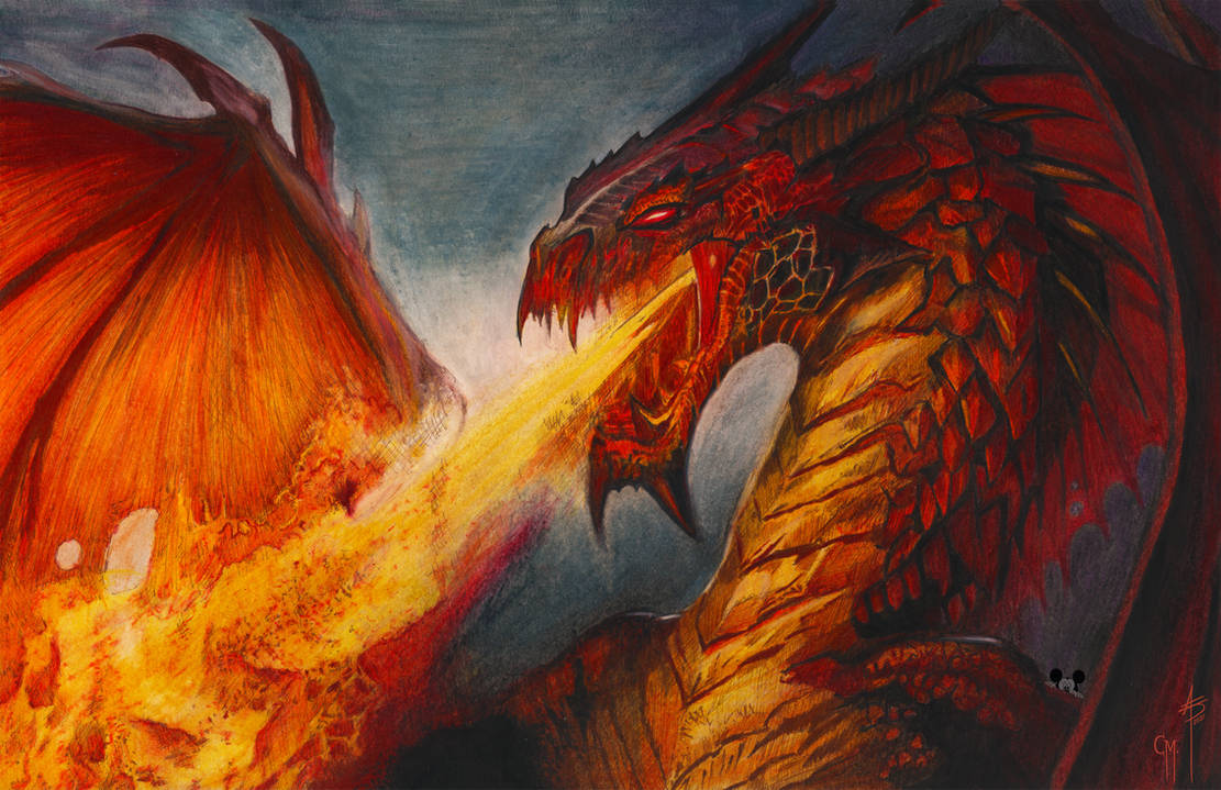 COLORED FIRE BREATHING RED DRAGON