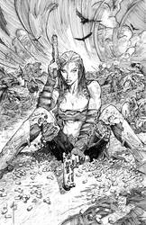 APHRODITIE IX - CYBER FORCE No. 1 COVER - INKED