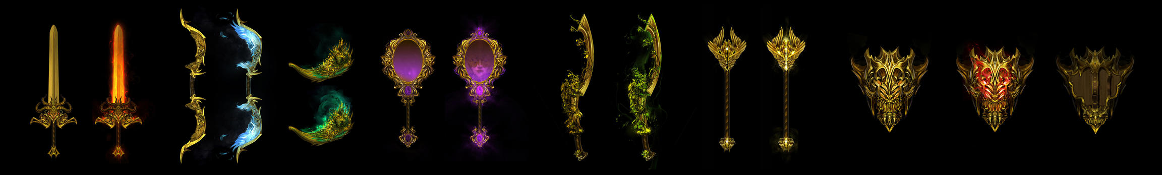 Weapon set - Gods of Tyria by h1fey
