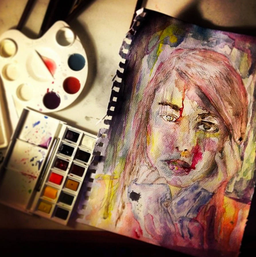 watercolour female face drip