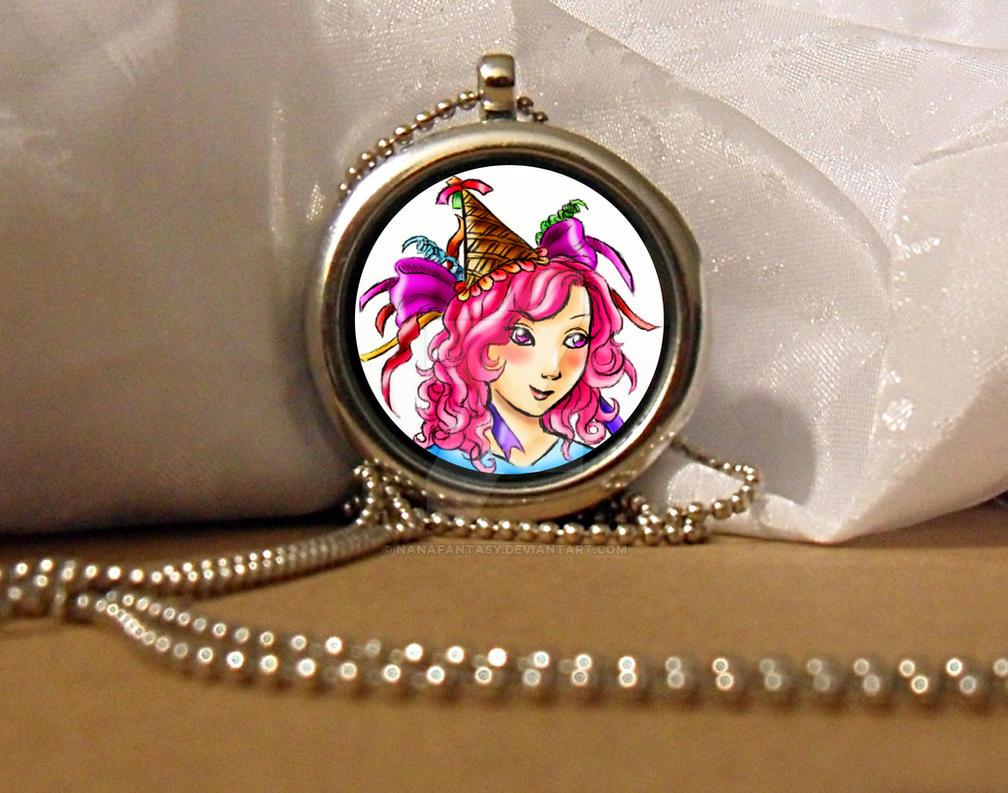 Pretty Pink Hair Party Girl Locket Neckalce by NanaFantasy