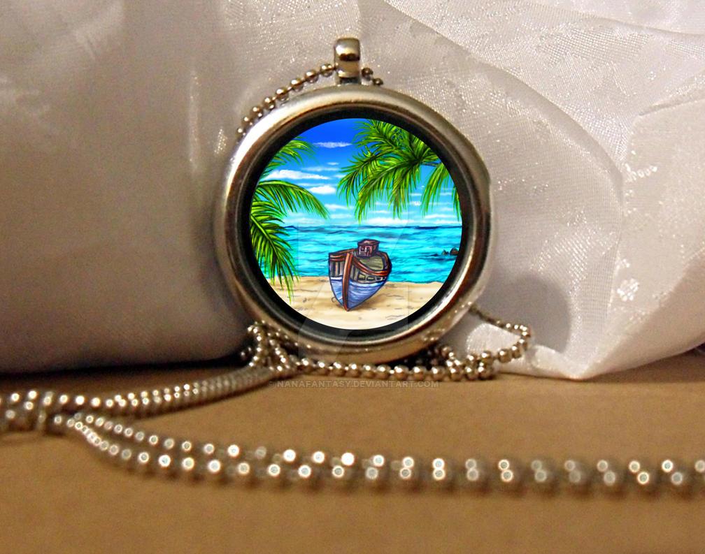 Boat on a Tropical Island Locket Necklace by NanaFantasy